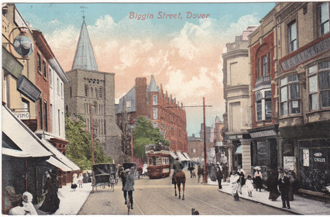 Old postcard of Biggin Street, Dover, Kent