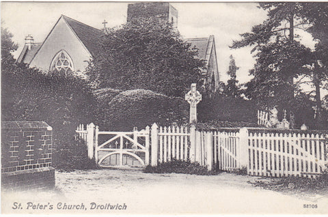 Old postcard of St Peter's Church, Droitwich in Worcestershire