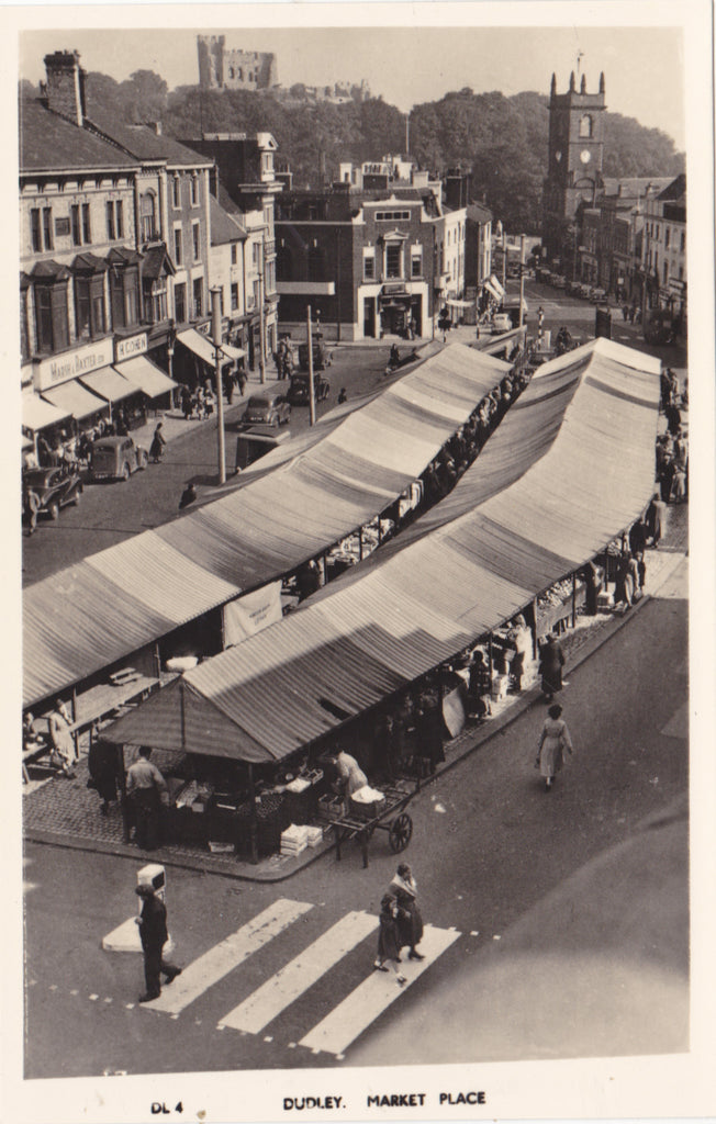 DUDLEY MARKET PLACE - 1940s? REAL PHOTO POSTCARD (ref 2317/17)