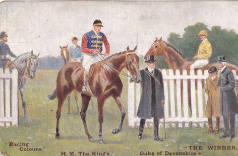 "Horse racing postcard ""Racing Colours The Winner - H.M The King's Duke of Devonshire"""