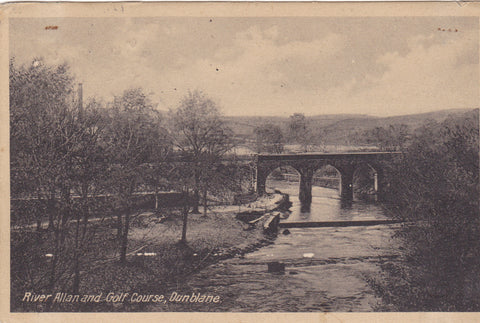 Old postcard of River Allan and Golf Course, Dunblane in Stirlingshire