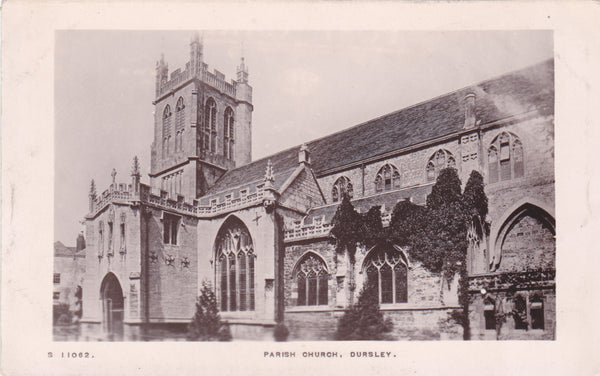 Old real photo postcard of Parish Church, Dursley