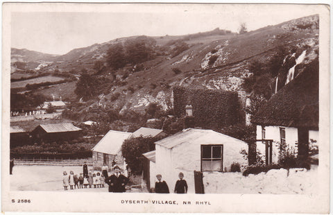 Old real photo postcard of Dyserth Village near Rhyl