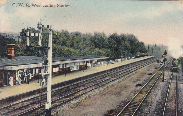 Old postcard showing GWR West Ealing Station, London