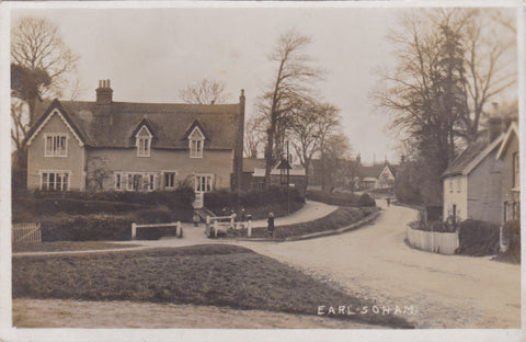 Old real photo postcard of Earl Soham, Suffolk