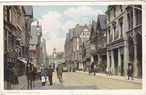 Old postcard of Eastgate Street, Chester