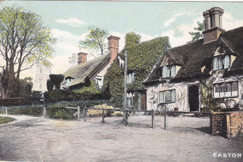 Old postcard of Easton in Suffolk, shows church & White Horse Pub
