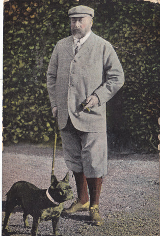 King Edward VII with his dog,1910 postcard