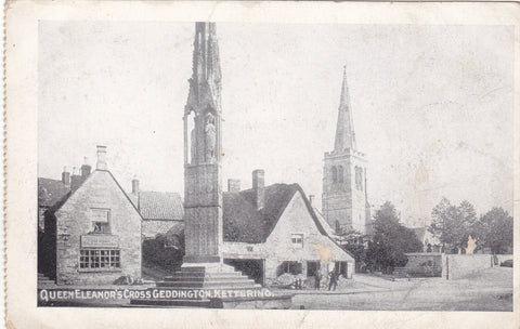 Old postcard of Eleanor Cross, Geddington, Kettering