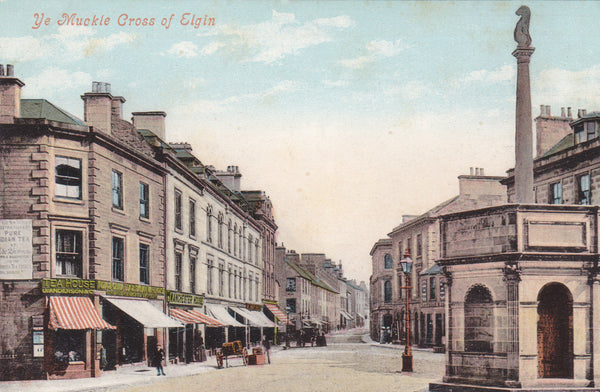 Old postcard entitled Ye Muckle Cross of Elgin