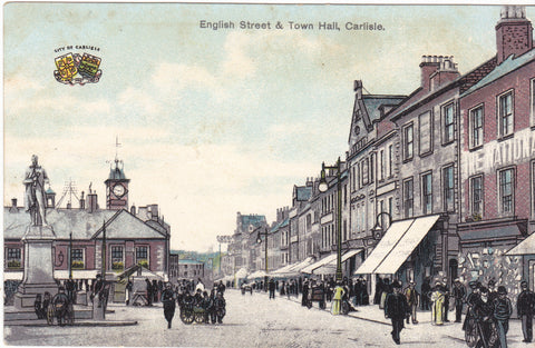 ENGLISH STREET & TOWN HALL, CARLISLE - PRE 1918 POSTCARD