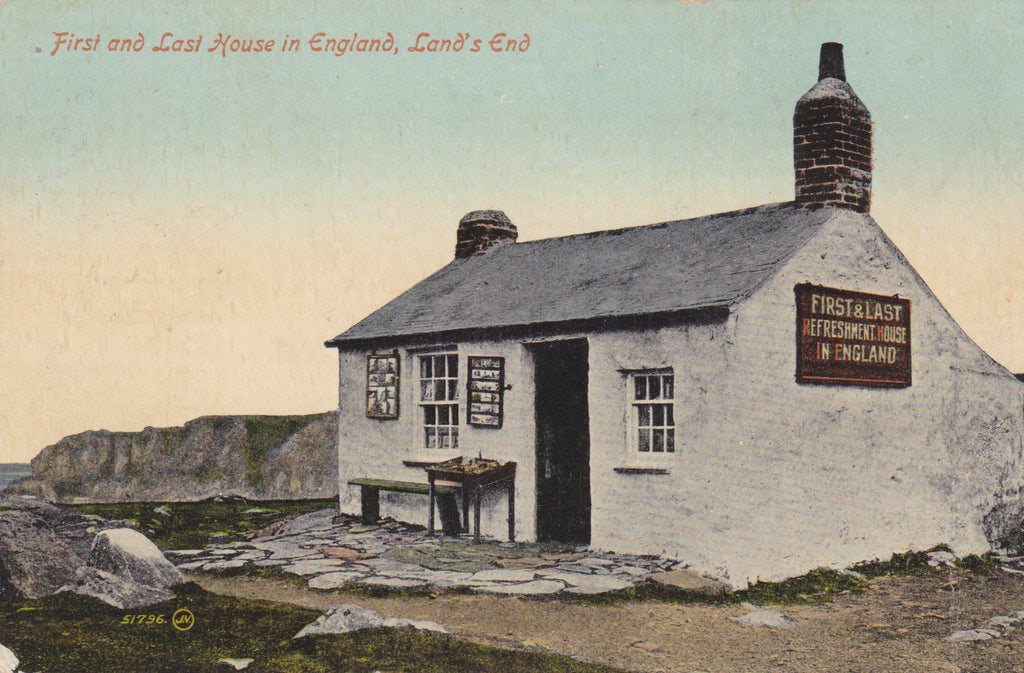 Old postcard of the First and Last House in England, Land's End