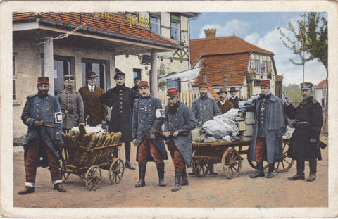 Old military postcard showing French prisoners transporting food.