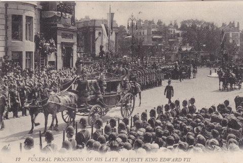 Old postcard of His Late Majesty King Edward VII's funeral procession