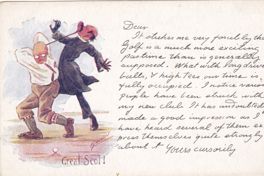 VINTAGE GOLF POSTCARD - GREAT SCOT! CYNICUS ART POSTCARD (ref 1734/18x2)