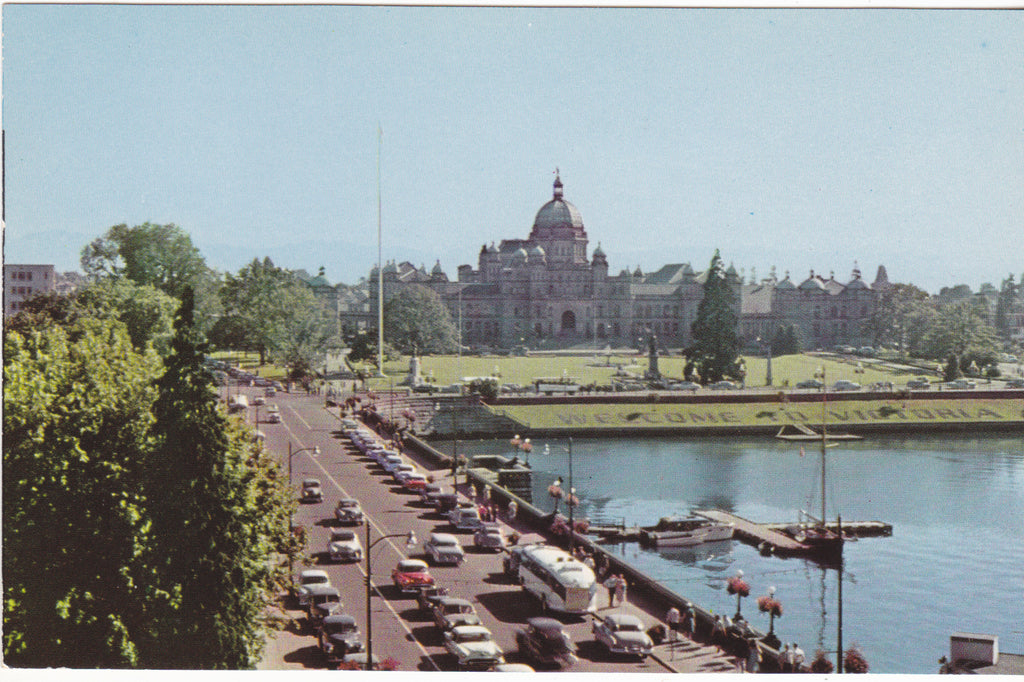GOVERNMENT STREET, INNER HARBOR & PARLIAMENT BUILDINGS, VICTORIA, B.C. (ref 2264/18)