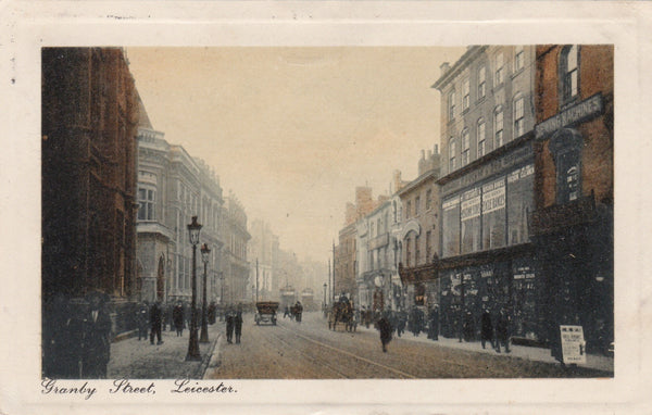 Old framed effect postcard, of Granby Street, Leicester