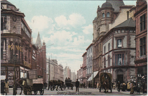 Old postcard of Granby Street, Leicester