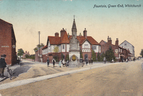Old postcard of Fountain, Green End, Whitchurch in Shropshire