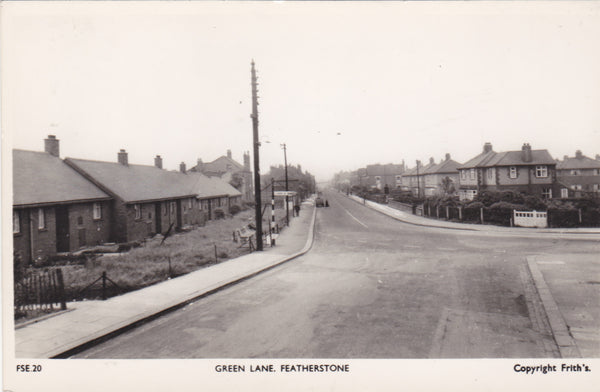Real photo postcard of Green Lane, Featherstone, Yorkshire