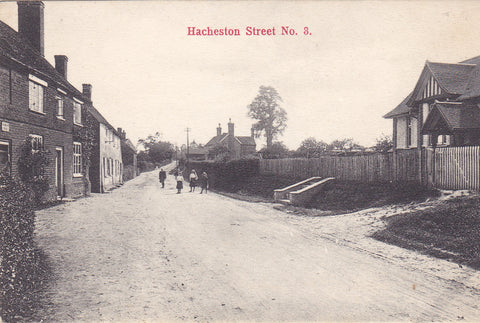 Old postcard entitled Hacheston, Street, No. 3