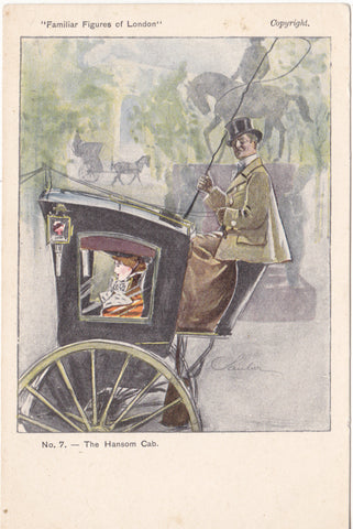 The Hansom Cab - Familiar Figures of London postcard series c1902