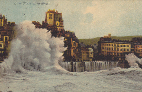 Pre 1918 postcard of A Storm at Hastings