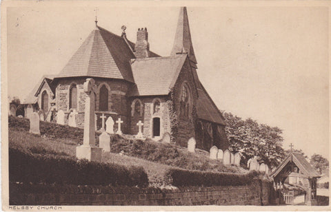 HELSBY CHURCH, CHESHIRE - OLD POSTCARD