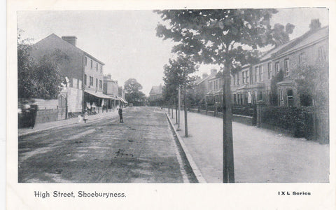 Old postcard of High Street, Shoeburyness in Essex