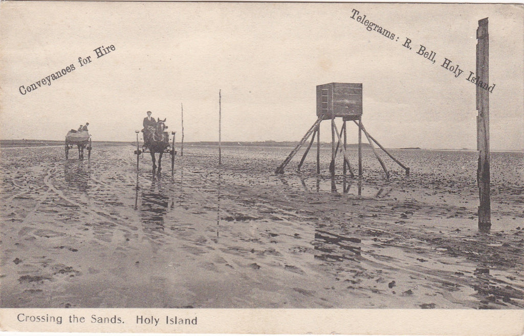 Old postcard - Crossing the Sands, Holy Island