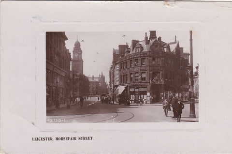 LEICESTER, HORSEFAIR STREET - OLD REAL PHOTO POSTCARD (ref 3482/18)