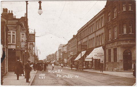 Old real photo postcard of High Street, Hounslow