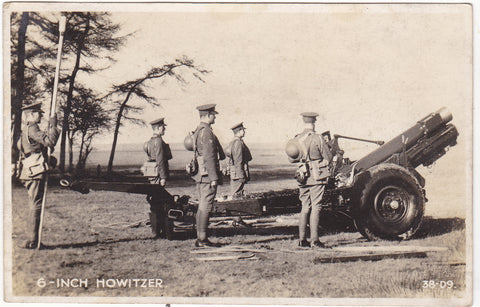 Old real photo postcard of British Army, 6 inch Howitzer in WW2