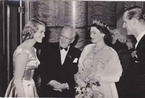 Real photo postcard of Joan Regan meeting Queen Elizabeth II