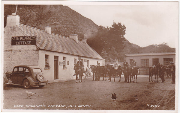 Old real photo postcard of Kate Kearney's Cottage, Killarney