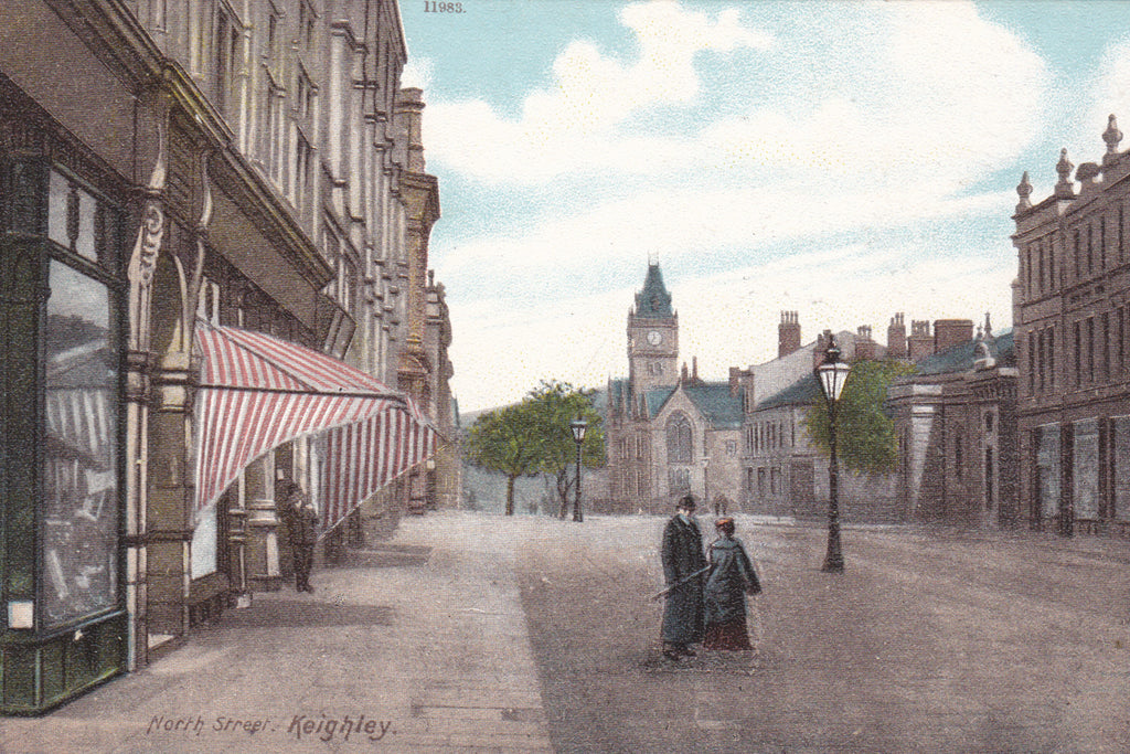 KEIGHLEY, NORTH STREET - pre 1918 POSTCARD (ref 3953/18)