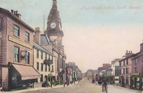 HIGH STREET, LOOKING SOUTH, KENDAL - OLD POSTCARD (ref 1474/19)