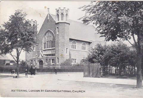 Old postcard of London Road Congregational Church, Kettering