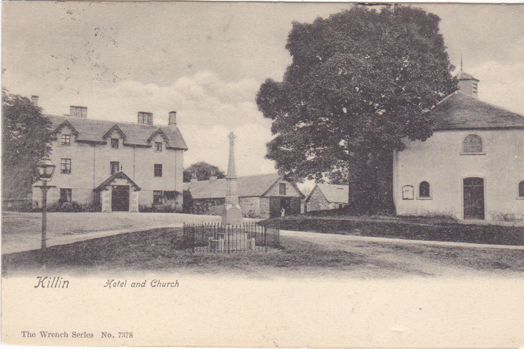 Old postcard of Killin, Hotel and Church, Scotland