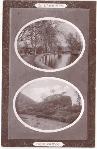 Car and canal, (tramcar) Kinver and Holy Austin Rocks, Kinver, old postcard
