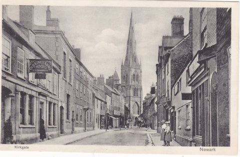 Old postcard of Kirkgate, Newark, in Nottinghamshire