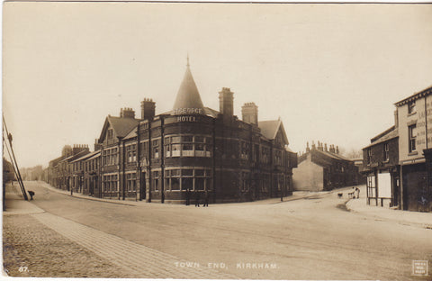 Old real photo postcard of Town End, Kirkham in Lancashire - shows St George Hotel