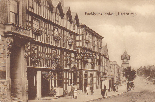 Old postcard of the Feathers Hotel, Ledbury, Herefordshire