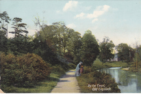 Old postcard entitled By the Canal, Old Linslade