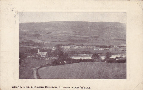 Old postcard of Llandrindod Wells golf links and church