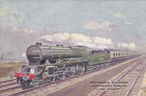 "SOUTHERN RAILWAY CONTINENTAL EXPRESS ""LORD NELSON"" TUCK OILETTE POSTCARD (ref 2413/18)"