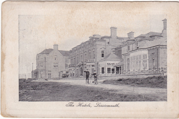 Old  postcard of The Hotels, Lossiemouth - Moray, Scotland
