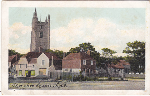 Old postcard of Coronation Square in Lydd, Kent