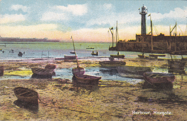 Old postcard of the Harbour, Margate, Kent