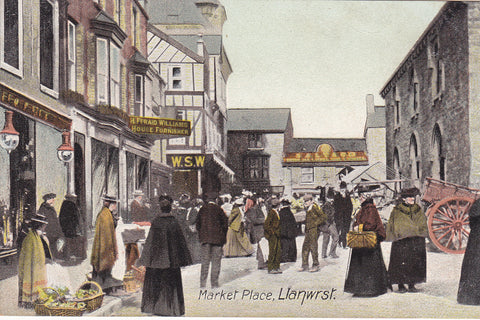 Old postcard of Market Place, Llanwrst